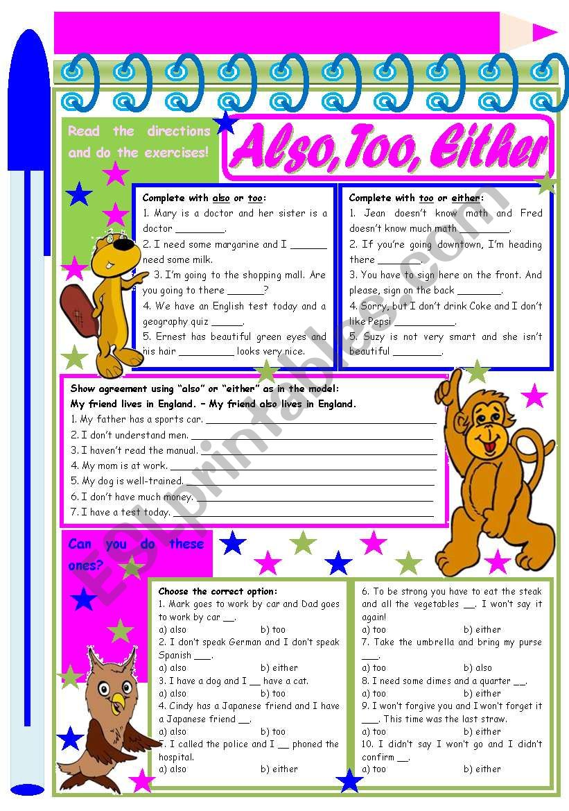Also, Too, Either - – exercises to provide practice and understanding [4 tasks] KEYS INCLUDED ((2 pages)) ***editable